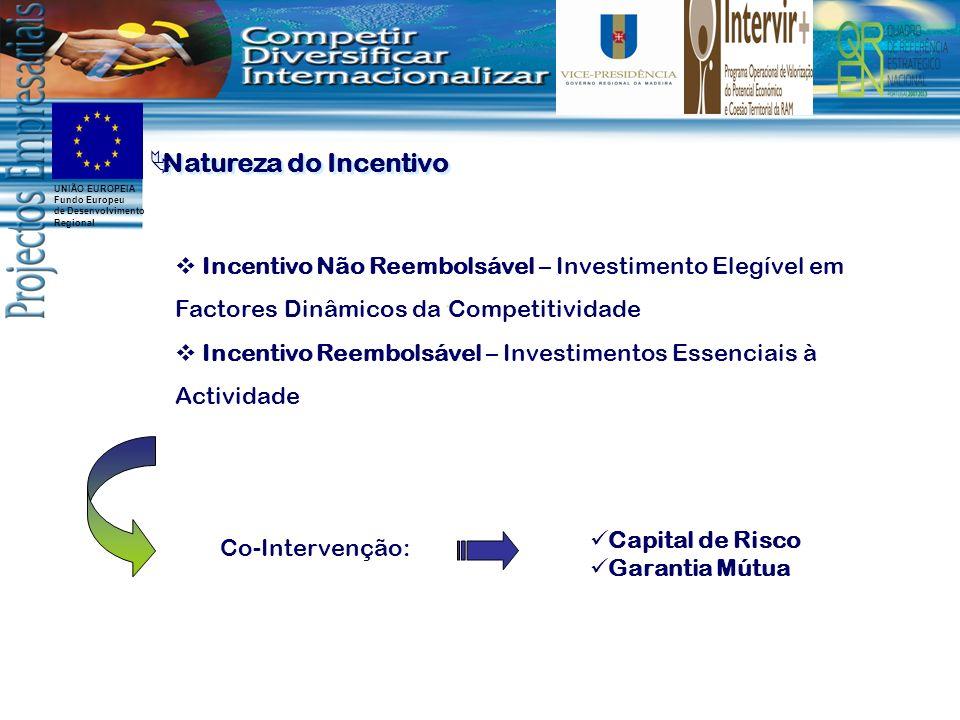 UNIÃO EUROPEIA Fundo Europeu de Desenvolvimento Regional Incentivo Não Reembolsável – Investimento Elegível em Factores Dinâmicos da Competitividade Incentivo Reembolsável – Investimentos Essenciais à Actividade Co-Intervenção: Capital de Risco Garantia Mútua Natureza do Incentivo