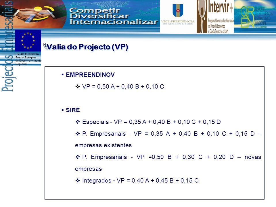 UNIÃO EUROPEIA Fundo Europeu de Desenvolvimento Regional Valia do Projecto (VP) EMPREENDINOV VP = 0,50 A + 0,40 B + 0,10 C SIRE Especiais - VP = 0,35 A + 0,40 B + 0,10 C + 0,15 D P.