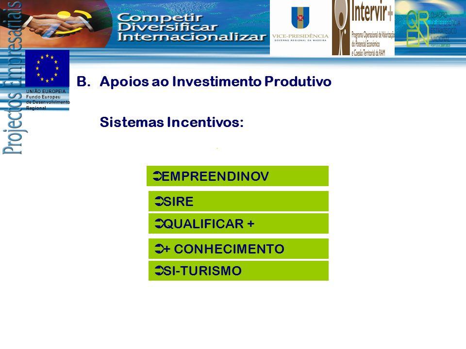 UNIÃO EUROPEIA Fundo Europeu de Desenvolvimento Regional B.Apoios ao Investimento Produtivo Sistemas Incentivos: EMPREENDINOV QUALIFICAR + SIRE SI-TURISMO + CONHECIMENTO