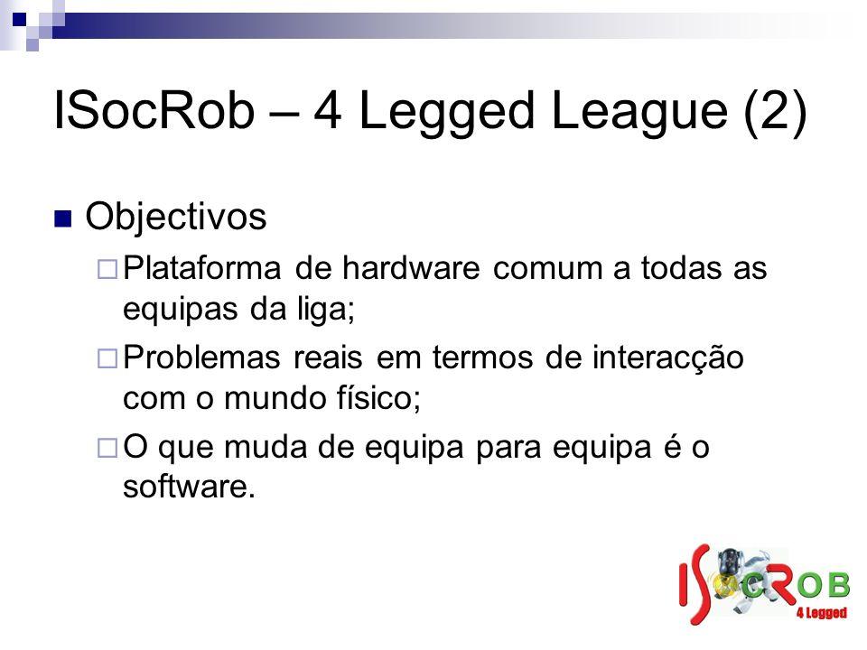 ISocRob – 4 Legged League (2) Objectivos Plataforma de hardware comum a todas as equipas da liga; Problemas reais em termos de interacção com o mundo físico; O que muda de equipa para equipa é o software.