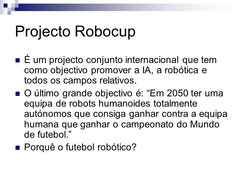 Projecto Robocup É um projecto conjunto internacional que tem como objectivo promover a IA, a robótica e todos os campos relativos. O último grande ob