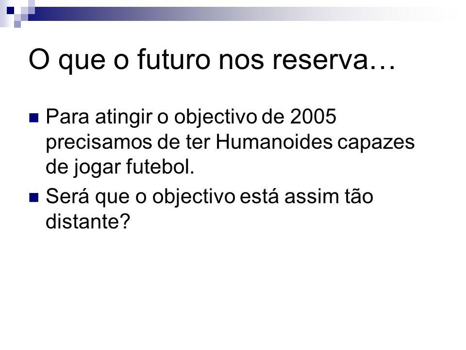 O que o futuro nos reserva… Para atingir o objectivo de 2005 precisamos de ter Humanoides capazes de jogar futebol. Será que o objectivo está assim tã
