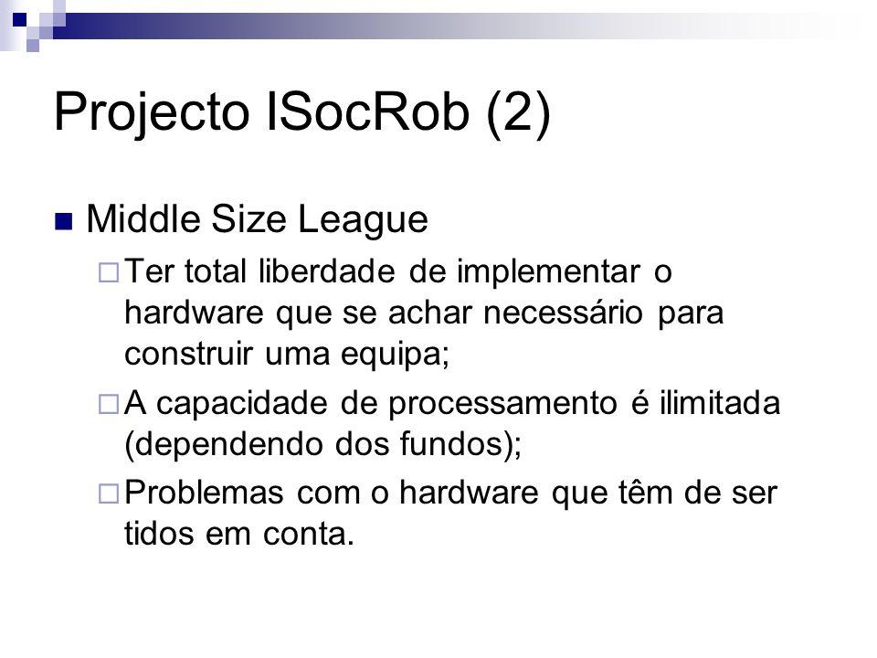 Projecto ISocRob (2) Middle Size League Ter total liberdade de implementar o hardware que se achar necessário para construir uma equipa; A capacidade de processamento é ilimitada (dependendo dos fundos); Problemas com o hardware que têm de ser tidos em conta.