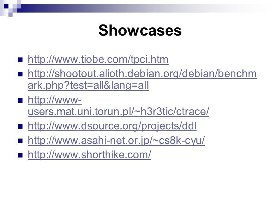 Showcases http://www.tiobe.com/tpci.htm http://shootout.alioth.debian.org/debian/benchm ark.php test=all&lang=all http://shootout.alioth.debian.org/debian/benchm ark.php test=all&lang=all http://www- users.mat.uni.torun.pl/~h3r3tic/ctrace/ http://www- users.mat.uni.torun.pl/~h3r3tic/ctrace/ http://www.dsource.org/projects/ddl http://www.asahi-net.or.jp/~cs8k-cyu/ http://www.shorthike.com/