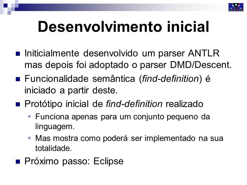 Desenvolvimento inicial Initicialmente desenvolvido um parser ANTLR mas depois foi adoptado o parser DMD/Descent. Funcionalidade semântica (find-defin