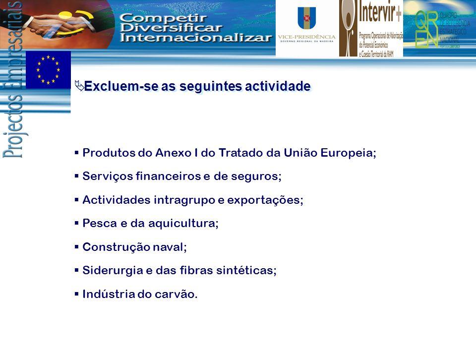 Excluem-se as seguintes actividade Produtos do Anexo I do Tratado da União Europeia; Serviços financeiros e de seguros; Actividades intragrupo e expor