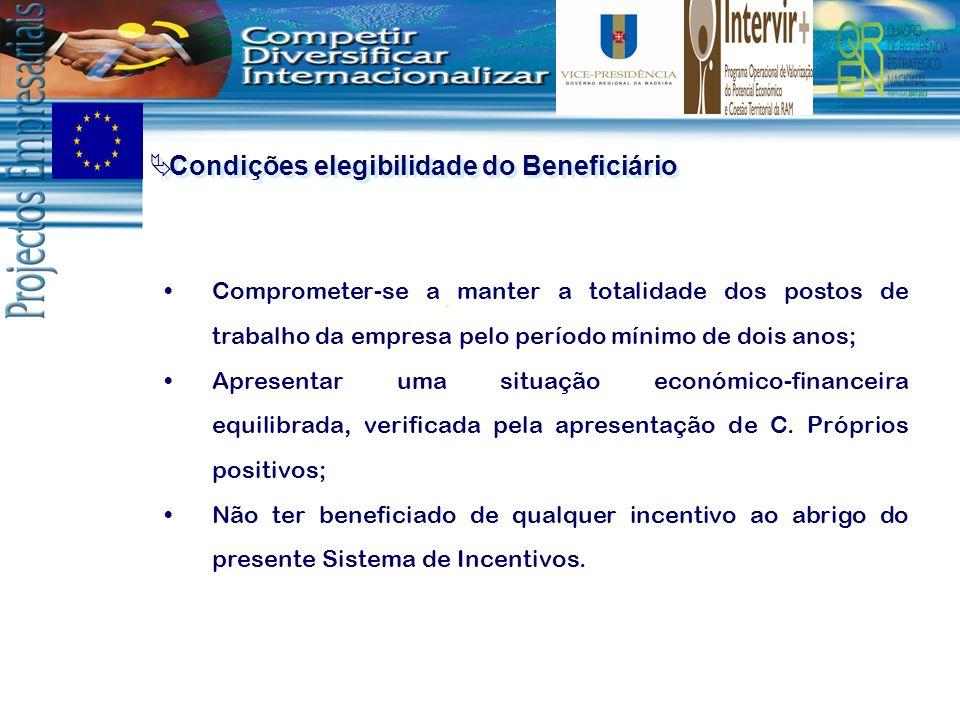 Condições elegibilidade do Beneficiário Comprometer-se a manter a totalidade dos postos de trabalho da empresa pelo período mínimo de dois anos; Apres