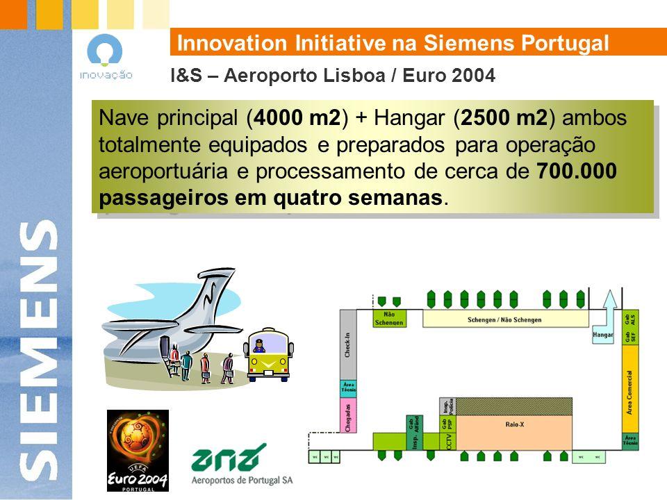 I&S – Aeroporto Lisboa / Euro 2004 Nave principal (4000 m2) + Hangar (2500 m2) ambos totalmente equipados e preparados para operação aeroportuária e processamento de cerca de 700.000 passageiros em quatro semanas.