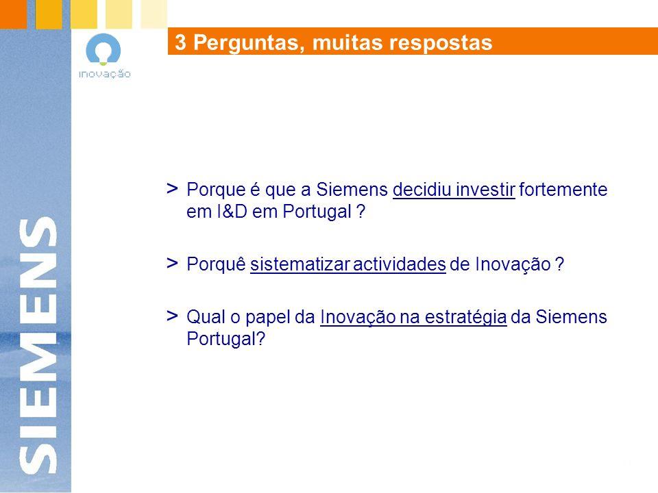 3 Perguntas, muitas respostas > Porque é que a Siemens decidiu investir fortemente em I&D em Portugal .
