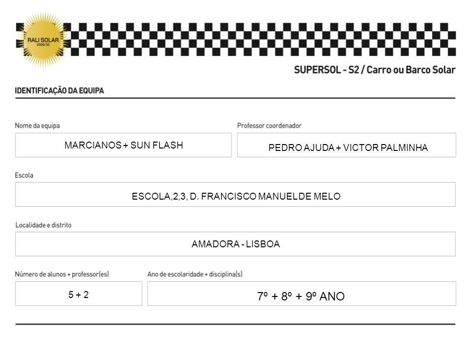 PEDRO AJUDA + VICTOR PALMINHA ESCOLA,2,3, D. FRANCISCO MANUEL DE MELO AMADORA - LISBOA 7º + 8º + 9º ANO MARCIANOS + SUN FLASH 5 + 2
