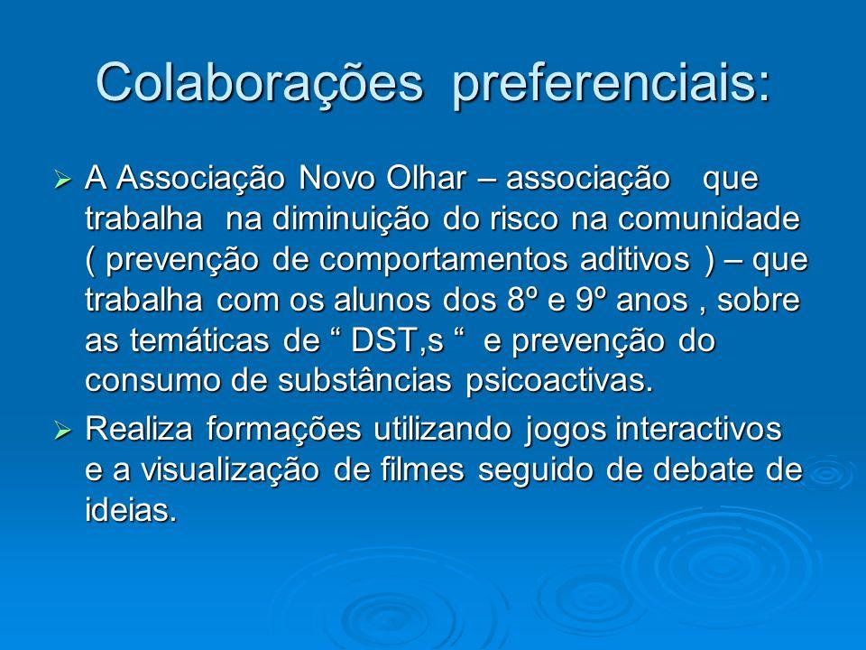 Colaborações preferenciais: A Associação Novo Olhar – associação que trabalha na diminuição do risco na comunidade ( prevenção de comportamentos aditi
