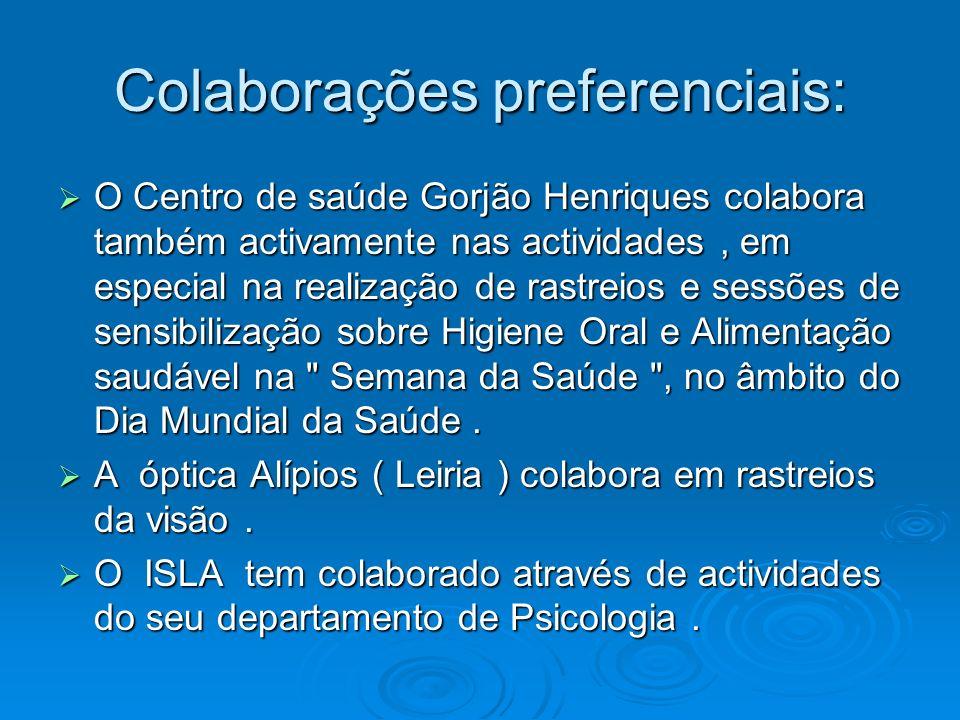 Colaborações preferenciais: O Centro de saúde Gorjão Henriques colabora também activamente nas actividades, em especial na realização de rastreios e s