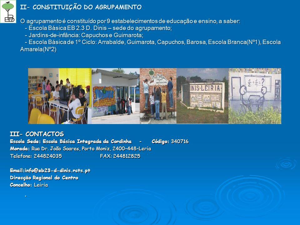 II- CONSTITUIÇÃO DO AGRUPAMENTO O agrupamento é constituído por 9 estabelecimentos de educação e ensino, a saber: - Escola Básica EB 2.3 D. Dinis – se