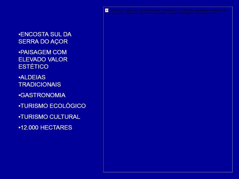 ENCOSTA SUL DA SERRA DO AÇOR PAISAGEM COM ELEVADO VALOR ESTÉTICO ALDEIAS TRADICIONAIS GASTRONOMIA TURISMO ECOLÓGICO TURISMO CULTURAL 12.000 HECTARES