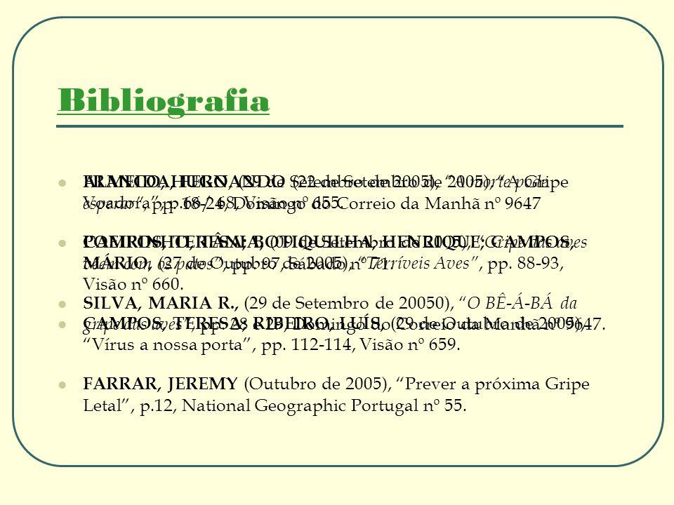 Bibliografia ALMEIDA, FERNANDO (22 de Setembro de 2005), A Gripe Voadora, p.66/ 68, Visão nº 655. CAMPOS, TERESA; BOTIQUILHA, HENRIQUE; CAMPOS, MÁRIO,