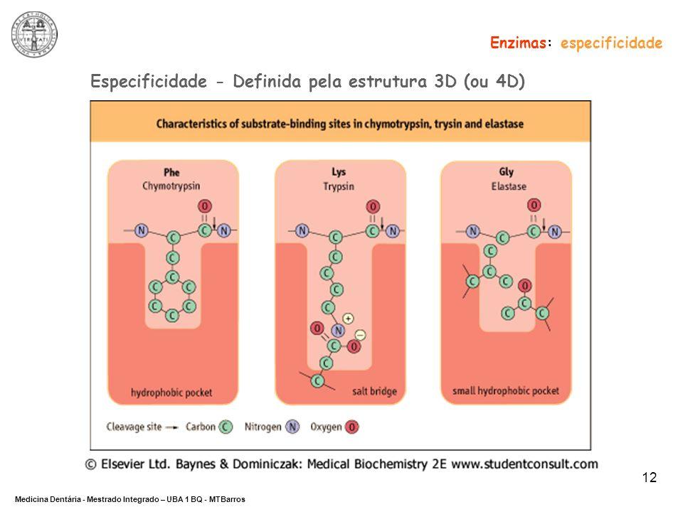 DEPARTAMENTO DE CIÊNCIAS DA SAÚDE Medicina Dentária - Mestrado Integrado – UBA 1 BQ - MTBarros 12 Especificidade - Definida pela estrutura 3D (ou 4D)