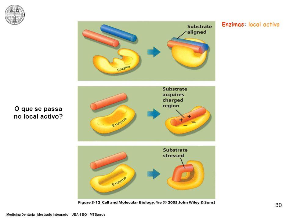 DEPARTAMENTO DE CIÊNCIAS DA SAÚDE Medicina Dentária - Mestrado Integrado – UBA 1 BQ - MTBarros 30 Enzimas: local activo O que se passa no local activo