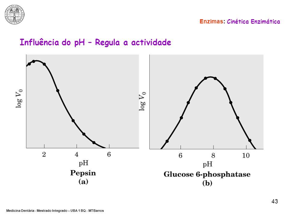 DEPARTAMENTO DE CIÊNCIAS DA SAÚDE Medicina Dentária - Mestrado Integrado – UBA 1 BQ - MTBarros 43 Enzimas: Cinética Enzimática Influência do pH – Regu