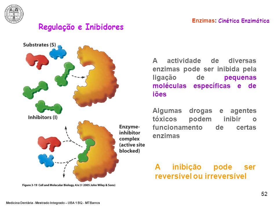 DEPARTAMENTO DE CIÊNCIAS DA SAÚDE Medicina Dentária - Mestrado Integrado – UBA 1 BQ - MTBarros 52 Enzimas: Cinética Enzimática Regulação e Inibidores