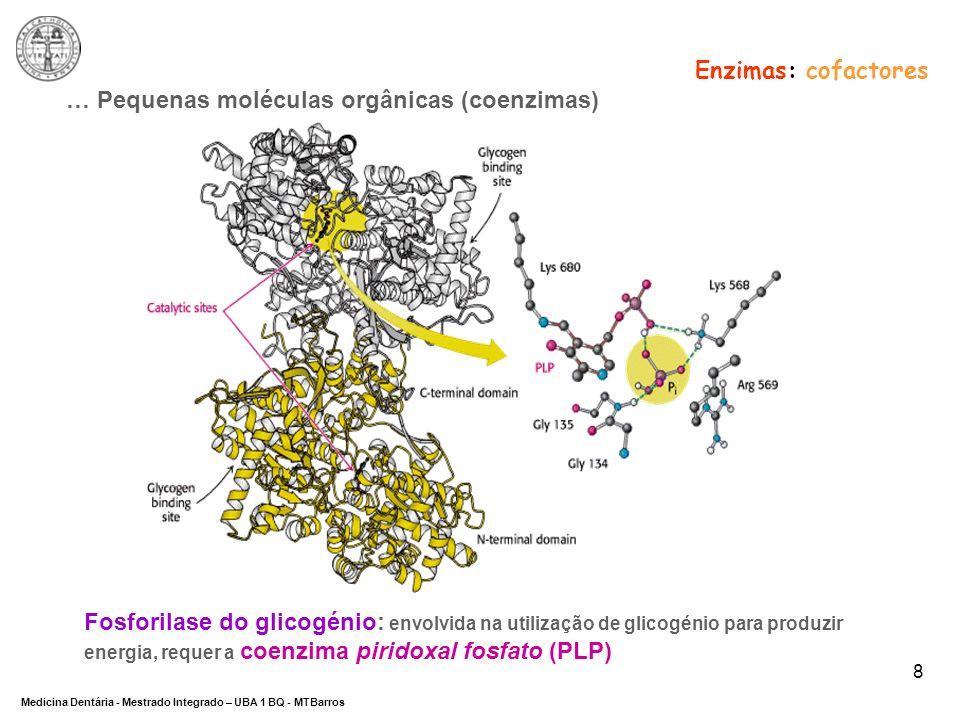 DEPARTAMENTO DE CIÊNCIAS DA SAÚDE Medicina Dentária - Mestrado Integrado – UBA 1 BQ - MTBarros 9 Enzimas: cofactores COFACTORES Iões MetálicosCoenzimas Iões Activadores Iões do local activo Cosubstratos Grupos prostéticos