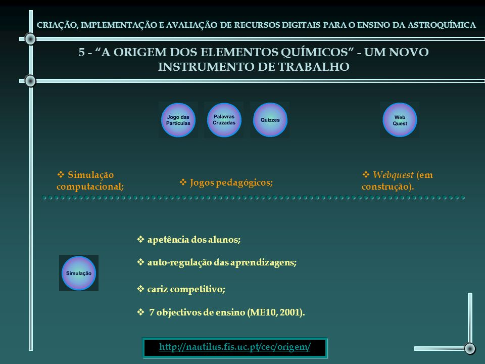 5 - A ORIGEM DOS ELEMENTOS QUÍMICOS - UM NOVO INSTRUMENTO DE TRABALHO CRIAÇÃO, IMPLEMENTAÇÃO E AVALIAÇÃO DE RECURSOS DIGITAIS PARA O ENSINO DA ASTROQU