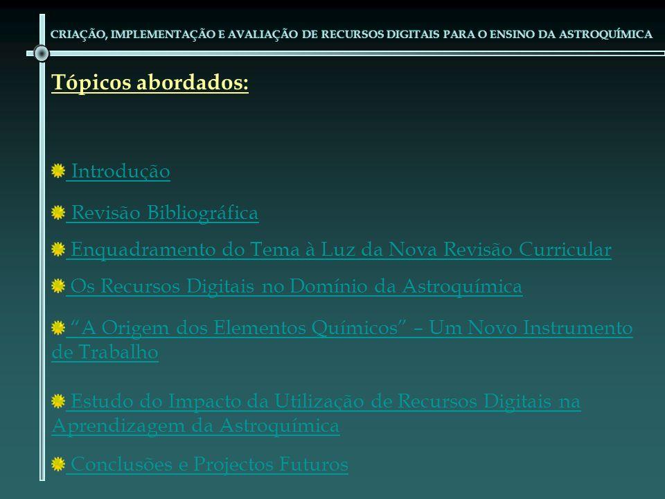 Tópicos abordados: Introdução Revisão Bibliográfica Enquadramento do Tema à Luz da Nova Revisão Curricular Os Recursos Digitais no Domínio da Astroquí