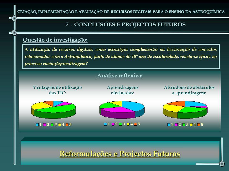 Reformulações e Projectos Futuros Análise reflexiva: 7 – CONCLUSÕES E PROJECTOS FUTUROS CRIAÇÃO, IMPLEMENTAÇÃO E AVALIAÇÃO DE RECURSOS DIGITAIS PARA O