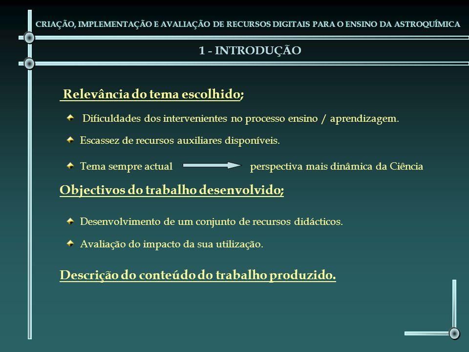 1 - INTRODUÇÃO Desenvolvimento de um conjunto de recursos didácticos. Relevância do tema escolhido; Dificuldades dos intervenientes no processo ensino