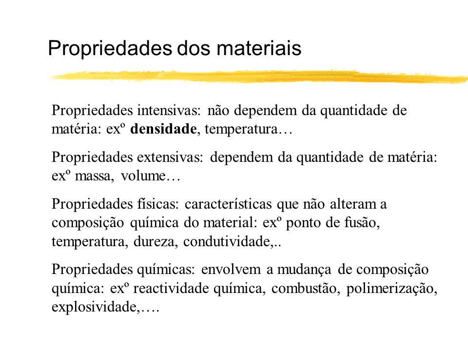 Propriedades dos materiais Propriedades intensivas: não dependem da quantidade de matéria: exº densidade, temperatura… Propriedades extensivas: depend