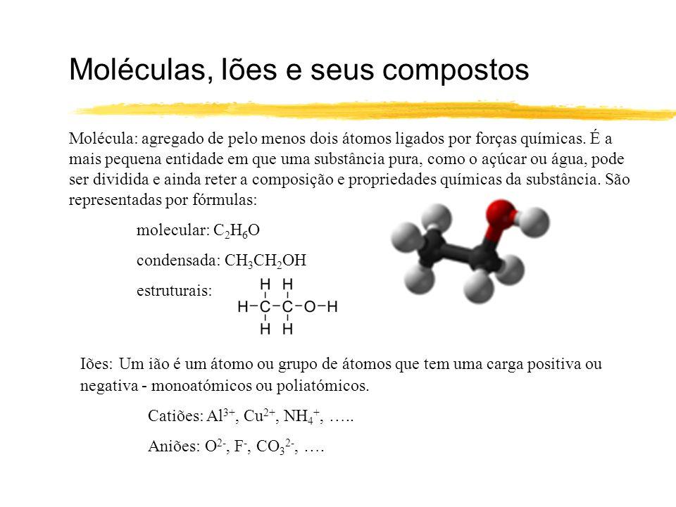 Moléculas, Iões e seus compostos Molécula: agregado de pelo menos dois átomos ligados por forças químicas. É a mais pequena entidade em que uma substâ