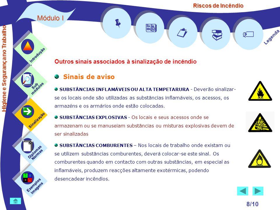 Riscos de Incêndio Módulo I 8/10 Sinais de aviso SUBSTÂNCIAS INFLAMÁVEIS OU ALTA TEMPETARURA - Deverão sinalizar- se os locais onde são utilizadas as