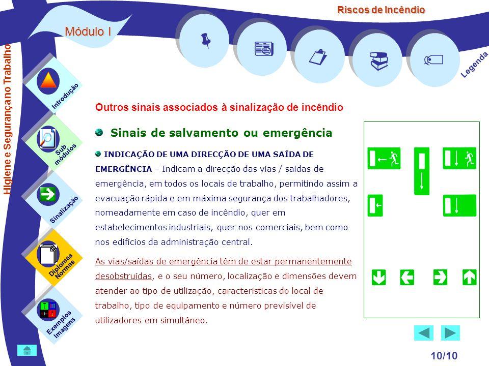 Riscos de Incêndio Módulo I 10/10 Sinais de salvamento ou emergência INDICAÇÃO DE UMA DIRECÇÃO DE UMA SAÍDA DE EMERGÊNCIA – Indicam a direcção das via
