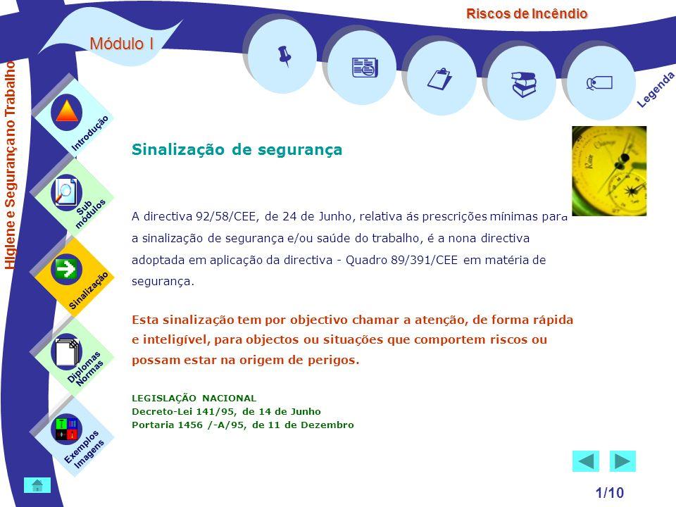 Riscos de Incêndio Módulo I 1/10 Sinalização de segurança A directiva 92/58/CEE, de 24 de Junho, relativa ás prescrições mínimas para a sinalização de