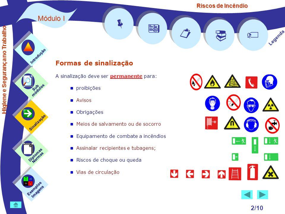 Riscos de Incêndio Módulo I 2/10 Formas de sinalização A sinalização deve ser permanente para: proibições Avisos Obrigações Meios de salvamento ou de