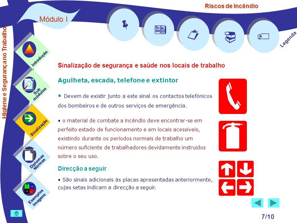 Riscos de Incêndio Módulo I 7/10 Agulheta, escada, telefone e extintor Devem de existir junto a este sinal os contactos telefónicos dos bombeiros e de