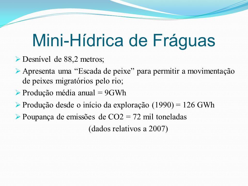 Desnível de 88,2 metros; Apresenta uma Escada de peixe para permitir a movimentação de peixes migratórios pelo rio; Produção média anual = 9GWh Produç