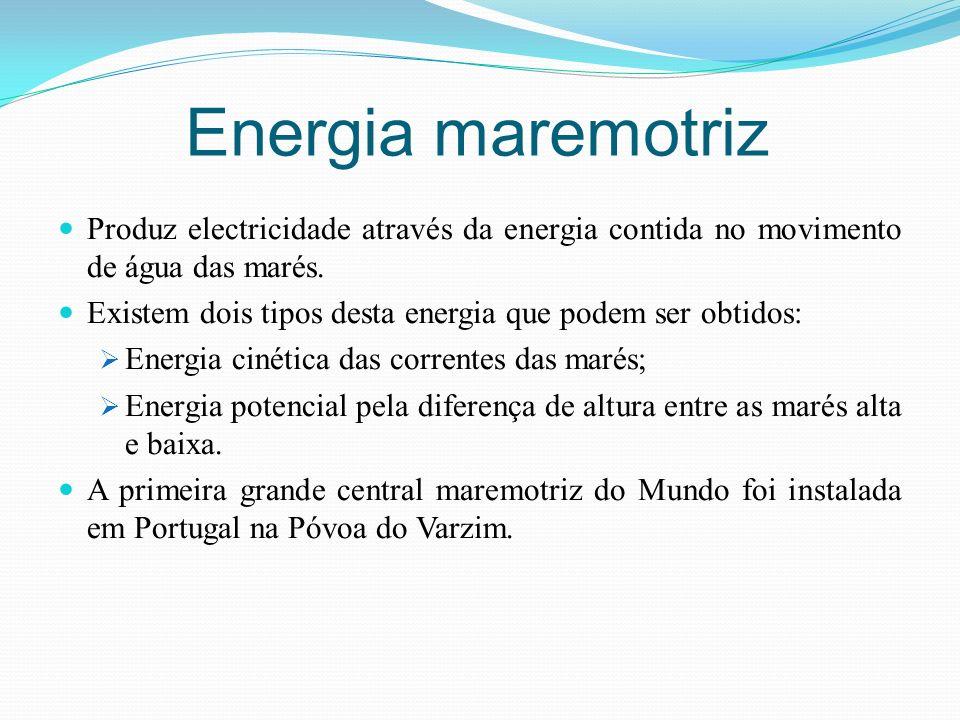 Energia maremotriz Produz electricidade através da energia contida no movimento de água das marés. Existem dois tipos desta energia que podem ser obti