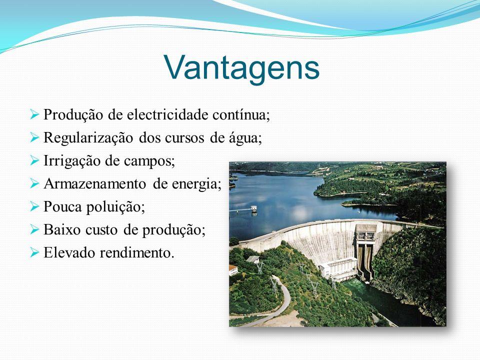 Vantagens Produção de electricidade contínua; Regularização dos cursos de água; Irrigação de campos; Armazenamento de energia; Pouca poluição; Baixo c
