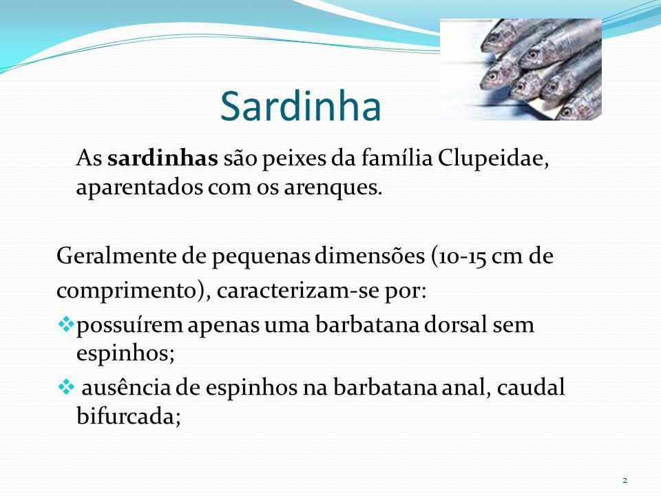 2 Sardinha As sardinhas são peixes da família Clupeidae, aparentados com os arenques. Geralmente de pequenas dimensões (10-15 cm de comprimento), cara