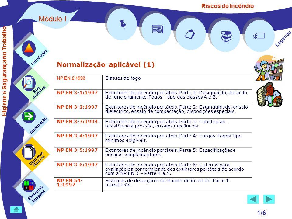 Riscos de Incêndio Módulo I 2/6 Normalização aplicável (2) Exemplos Imagens Sub módulos Sinalização Diplomas Normas Introdução Legenda NP EN 54- 4:1998 Sistemas de detecção e de alarme de incêndio.