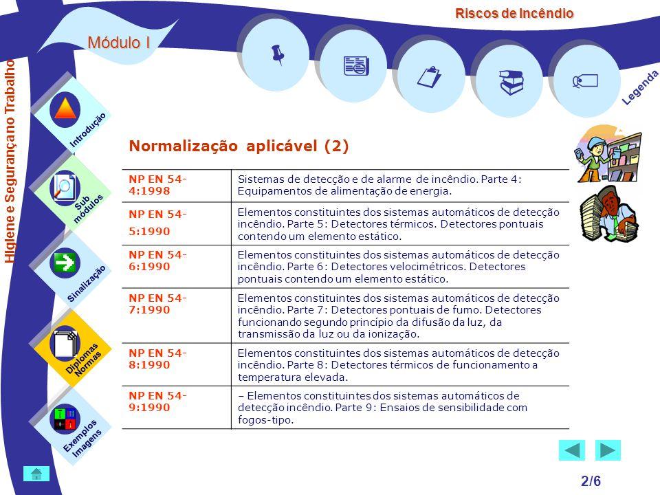Riscos de Incêndio Módulo I 2/6 Normalização aplicável (2) Exemplos Imagens Sub módulos Sinalização Diplomas Normas Introdução Legenda NP EN 54- 4:199