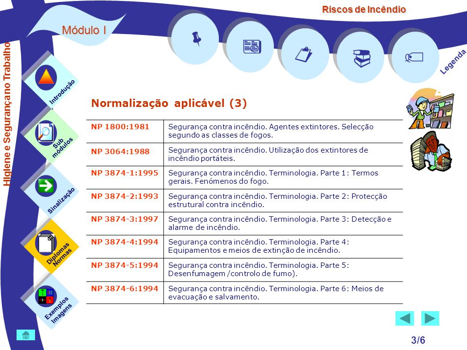 Riscos de Incêndio Módulo I 3/6 Normalização aplicável (3) Exemplos Imagens Sub módulos Sinalização Diplomas Normas Introdução Legenda NP 1800:1981Seg