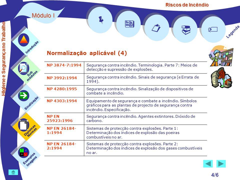 Riscos de Incêndio Módulo I 4/6 Normalização aplicável (4) Exemplos Imagens Sub módulos Sinalização Diplomas Normas Introdução Legenda NP 3874-7:1994S