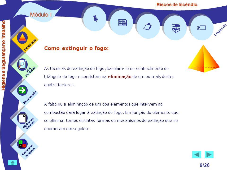 Riscos de Incêndio Módulo I 9/26 Exemplos Imagens Sub módulos Sinalização Diplomas Normas Introdução Legenda Higiene e Segurança no Trabalho Como exti