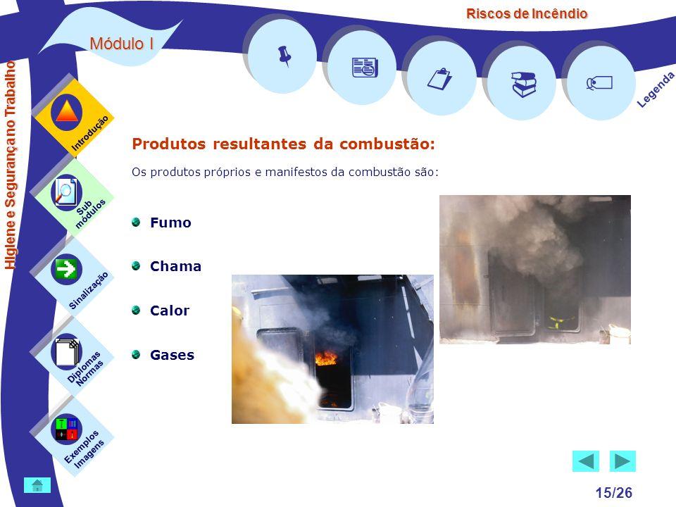 Riscos de Incêndio Módulo I 15/26 Exemplos Imagens Sub módulos Sinalização Diplomas Normas Introdução Legenda Higiene e Segurança no Trabalho Produtos