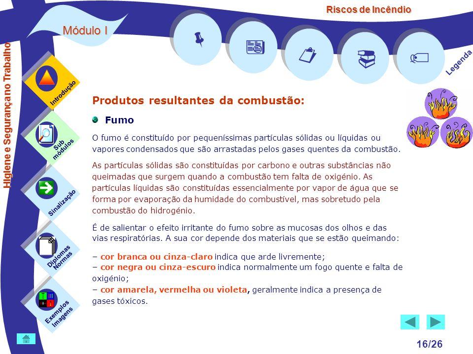 Riscos de Incêndio Módulo I 16/26 Exemplos Imagens Sub módulos Sinalização Diplomas Normas Introdução Legenda Higiene e Segurança no Trabalho Produtos