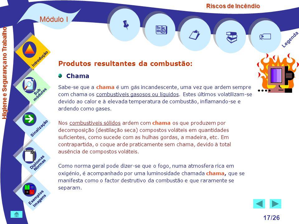 Riscos de Incêndio Módulo I 17/26 Exemplos Imagens Sub módulos Sinalização Diplomas Normas Introdução Legenda Higiene e Segurança no Trabalho Produtos