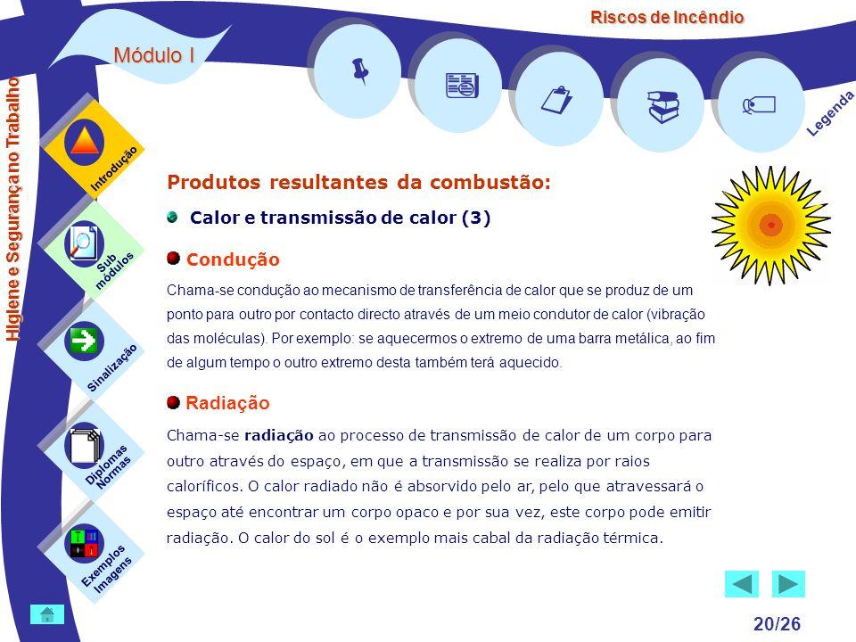 Riscos de Incêndio Módulo I 20/26 Exemplos Imagens Sub módulos Sinalização Diplomas Normas Introdução Legenda Higiene e Segurança no Trabalho Produtos