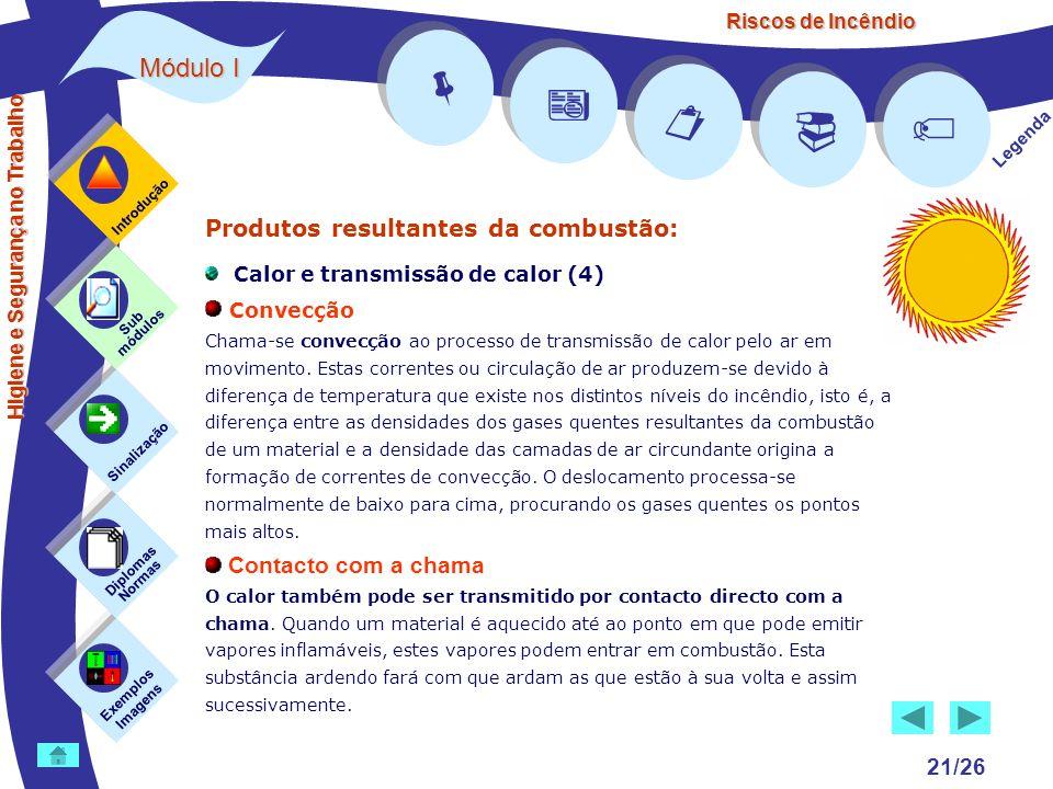 Riscos de Incêndio Módulo I 21/26 Exemplos Imagens Sub módulos Sinalização Diplomas Normas Introdução Legenda Higiene e Segurança no Trabalho Produtos