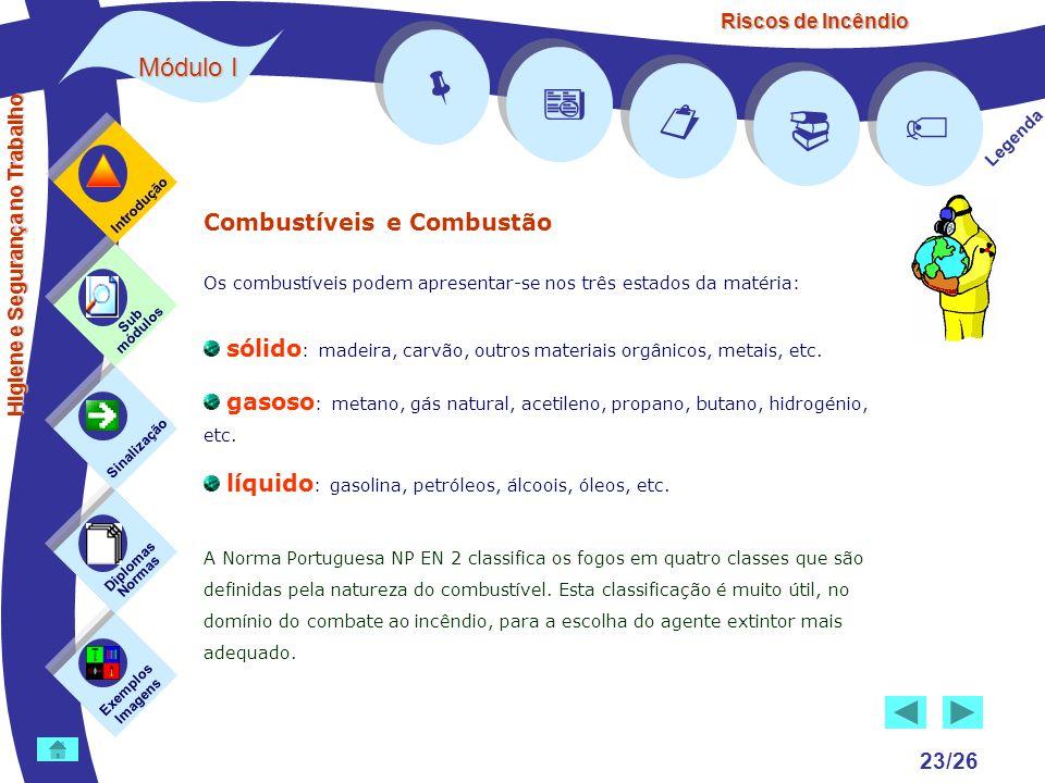 Riscos de Incêndio Módulo I 23/26 Exemplos Imagens Sub módulos Sinalização Diplomas Normas Introdução Legenda Higiene e Segurança no Trabalho Combustí